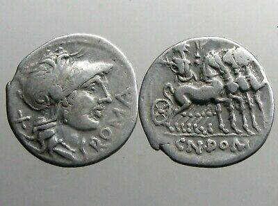 DOMITIA 7 SILVER DENARIUS______Roman Republic______JUPITER IN WALKING QUADRIGA