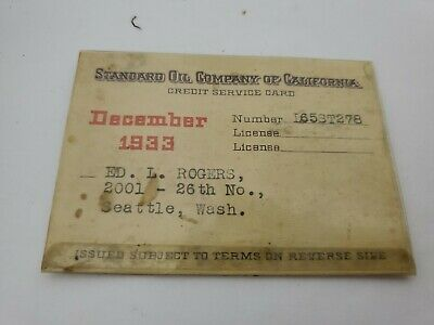 STANDARD OIL COMPANY OF CALIFORNIA Credit Service Card Expires December 1933