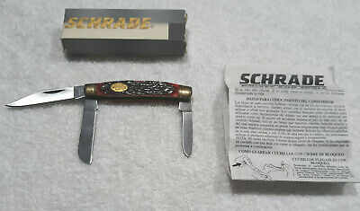 """Schrade 3 Blade Pocket Knife -Knife is 3-1/8"""" Closed w/Bone Handle -New in Box"""