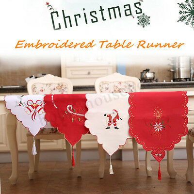 Christmas Tablecloth Xmas Banquet Embroidered Table Cover Home Party Desk Decor
