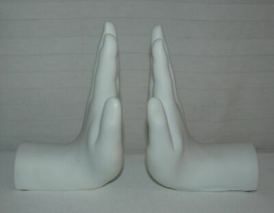 MILAN PACIFIC HUMAN HAND BOOKENDS  SET NEW IN BOX ( choice of black or white)