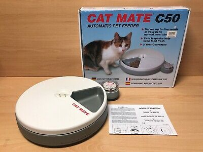 CAT MATE C50 Automatic 5 Meal Pet Feeder With Box, Instructions & 2 Ice Blocks