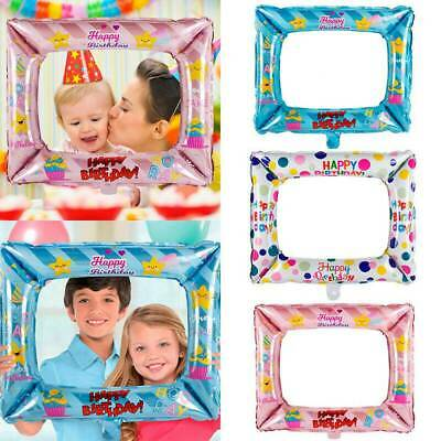 3 Pcs Foil Balloons Photo Frame Photo Props Kids Happy Birthday Party Decoration