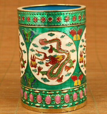 rare chinese old cloisonne Handcarved dragon statue brush pot noble decoration