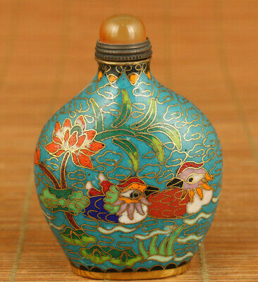 old Cloisonne hand painting mandarin duck statue noble snuff bottle decoration