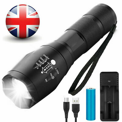 LED Cree Torch Rechargeable Flashlight Police Tactical Zoom Camping Lamp 18650