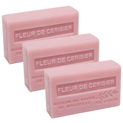French Soap-Traditional Savon de Marseille- 3 x 125g -Cherry Blossom-Shea Butter