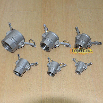 """1/2""""-2"""" Type D Trash Pump Female Camlock to Female Connector FF Threaded SUS316"""