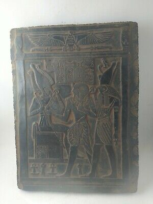 RARE ANTIQUE ANCIENT EGYPTIAN Stela King Osiris Gods Hours Throne 1220-1235 Bc