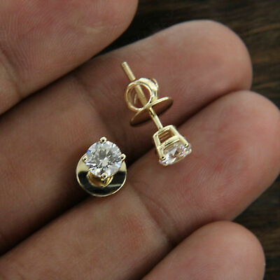 2.00 ct Round Cut Diamond Solitaire Screw Back Earrings 14k Yellow Gold Finish