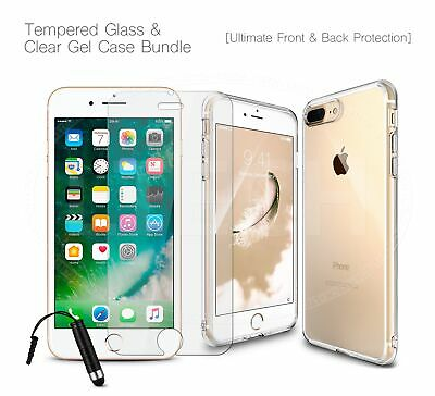 "For Apple iPhone XI (2019) 6.1"" - Clear Gel TPU Case, Tempered Glass & Mini Pen"