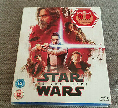 Blu Ray Star Wars The Last Jedi 2 Disc Blu Ray with The Resistance Sleeve New