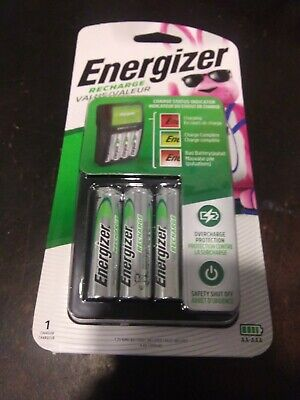 Energizer Recharge Value Charger - CHVCMWB-4. Includes 4 Batterys As Seen