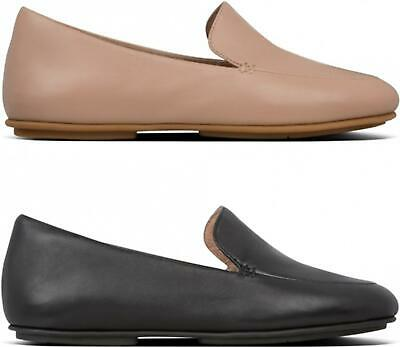 FitFlop LENA Ladies Womens Genuine Leather Slip On Flat Loafers Pumps Shoes