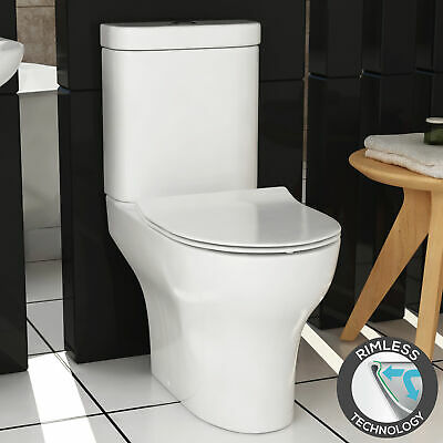 Back to Wall Round Bathroom Toilet Close Coupled Modern WC Soft Close Seat Dual Flush Cloakroom White Gloss Ceramic