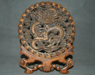 Chinese dynasty Huanghuali wood Carved Ruyi Base Dragon auspicious screen statue