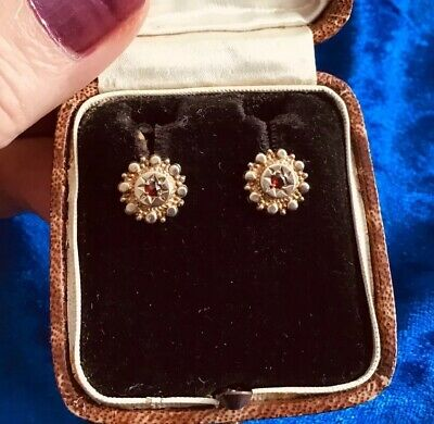 Lovely Antique Victorian 9Ct Gold & Real Garnet Set Earrings