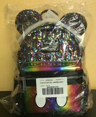 New Disney Parks Loungefly Rainbow Sequin Mini Backpack Mickey Mouse plus Free