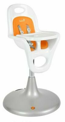 Boon Flair Pedestal Baby Feeding Rolling High Chair, White Seat with Orange Pad