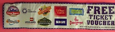 Alton Towers Sealife Thorpe Park Madame Tussauds 2 for 1 Entry Voucher 31.07.20