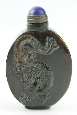 Chinese Hand Craved Old Yak-Horn Snuff Bottle 2 Sides Dragon & The Sea God