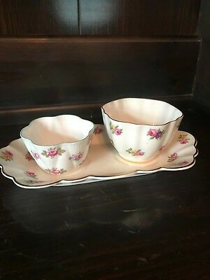 Antique  Shelby Sugar Bowl & Old Royal Bone China Tray & Bowl Precious!