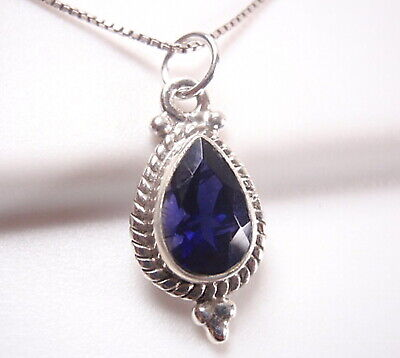 Faceted Iolite /& Moonstone Pendant 925 Sterling Silver Rope Style Accents New