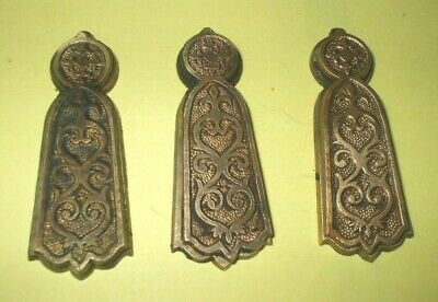 Antique Eastlake Brass Door Escutcheon Keyhole Cover's Qty. 3 Matching