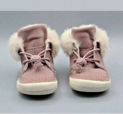 New Clarks Girls Pink Warm Doodles Slippers/Shoes Size UK Infant 7-8.5F