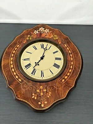 Vintage French Inlaid Wooden Wall Clock Converted To Battery
