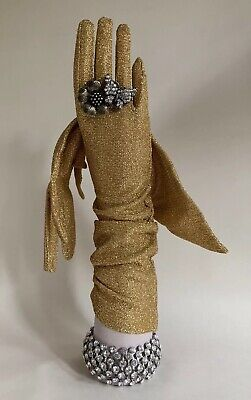 Cornelia James 1950s Vintage Gold Metallic Lurex Evening  Gloves 15 Inch Size 7