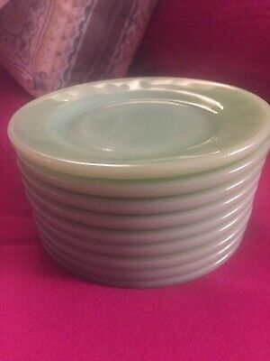 "9 Fire King Jadite Restaurant Ware 5 1/2"" Bread And Butter Plates"