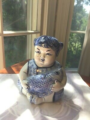 Vintage Asian Chinese Girl holding Fish Ceramic Porcelain Blue White Statue Bank
