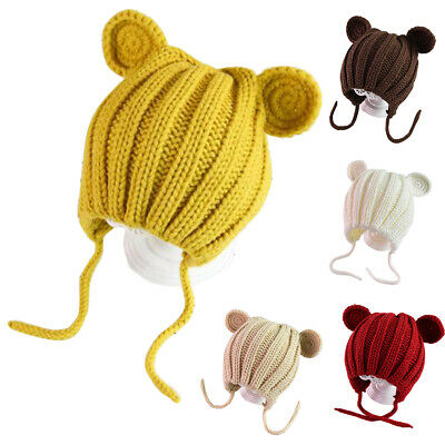 Lace-up Baby Kids Hat Knitted Winter Cute With Ears Ear Protection Children Gift