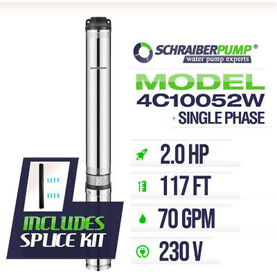 "SCHRAIBERPUMP 4"" Deep Well Submersible Pump 2HP 230v 143ft 75GPM 63maxPSI 2wire"