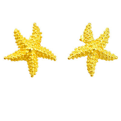 Liquidation Sale indonesian bali style solid 14k gold star fish earrings a80019