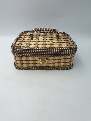 Vintage Retro Woven Wicker Straw Plastic Sewing Basket Case Padded Brown Trims