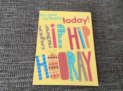 HAPPY BIRTHDAY GREETING CARD HIP HIP HOORAY Man Boy Teen Friend Family PARTY FUN