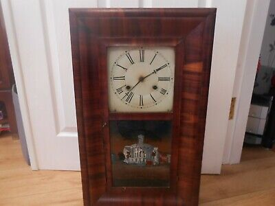 Antique American 8 Day Weight Driven Wall Clock E.N.Welch Conneticut