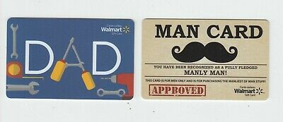 2 diff Walmart Canada 2019 gift cards DAD & MAN CARD NO VALUE