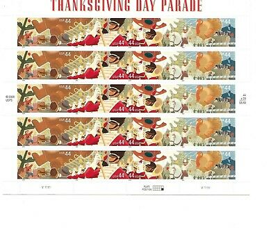 Scott 4417-4420. Thanksgiving Day Parade. Sheet of 20-44 cent US postage stamps.