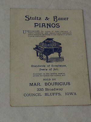 "The Celebrated Stultz & Bauer Pianos""  Victorian advertising Trade card"