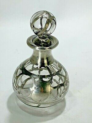 Art Deco Sterling Silver Overlay On Glass Perfume Bottle with Stopper