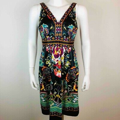 ECI Womens Dress sz 8 Sleeveless Empire V-neck Floral Print Black Multi