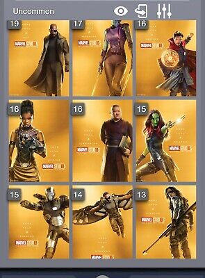 Topps Marvel Collect First Ten Years Gold Character set (28 cards)