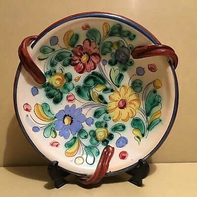 Stunning Antique / Vintage Hand Crafted & Painted Italian Centerpiece Dish 25 cm
