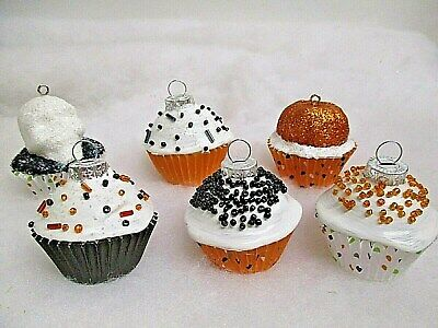 "Set of 6 Halloween Mini Cupcake Ornaments w/ Beads & glitter ~  1.75"" x 1.75"""