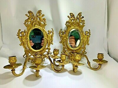 Antique Pair of French Brass Gold Gilt Putti & Mirror Three Candle Sconces