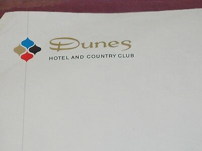 Scarce DUNES HOTEL AND COUNTRY CLUB In Room Stationary Letterhead circa 1960's