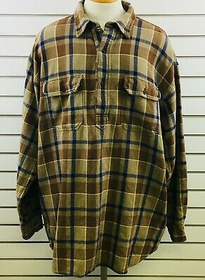 Mens XLT J Crew Pullover Shirt Plaid Brown Blue Thick Cotton Long Sleeve 1990s